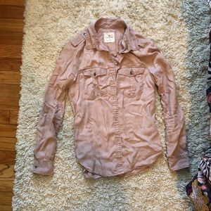 Dusty pink American Eagle button down shirt